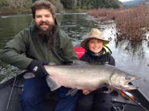 Father and son anglers Daniel and Wyatt, of Orange County, had their hands full putting this 35-pound king salmon in the net on a recent trip on the Smith River with Mike Coopman's Guide Service.