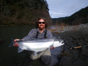 Kyle De Juilio of Weaverville landed this beautiful native steelhead on the Mad River last Sunday using a fly rod. Photo courtesy of Aaron Martin