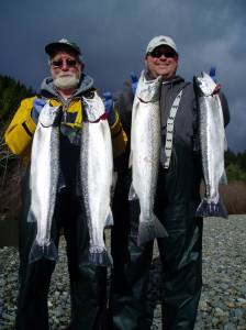 A great day on the Chetco River for San Francisco residents Allan and Peter Maris produced a limit of chrome-bright hatchery steelhead while fishing with guide Mike Stratman of Redwood Coast Fishing.