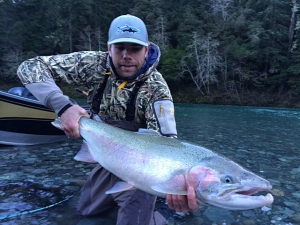 Eureka resident Jody Knowlton boated a nice Smith River steelhead while drifting with guide Tony Sepulveda of Green Water Fishing Adventures on Tuesday. Photo courtesy of Tony Sepulveda/Green Water Fishing Adventures