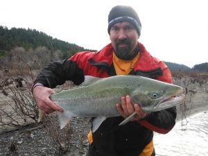 Steve Allen of Eureka landed a nice Eel River steelhead on a recent trip with Alan Borges of Alan's Guide Service. Last weeks heavy rains blew out all of the North Coast rivers, but the Smith and Chetco are back to down to fishable shape heading into the weekend. Photo courtesty of Alan's Guide Service