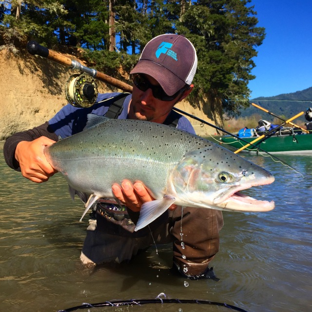 Chico resident Nick Hanna landed this nice Van Duzen steelhead Sunday while fly fishing the lower river. Photo courtesy of Evan Oetinger
