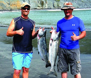 Loleta resident Eric Stockwell, left, and Domenic Belli of Grizzly Bluff picked up a pair of opening-day kings while fishing from their kayaks at Shelter Cove on Saturday. Photo courtesy of Eric Stockwell