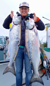 Arcata resident Jenna Kennedy landed a nice pair of kings on Sunday while fishing out of Eureka aboard the Shellback with Capt. Tony Sepulveda. The salmon bite is heating up and the ocean should be plenty fishable for the Memorial holiday weekend. Photo courtesy of Green Water Fishing Adventures