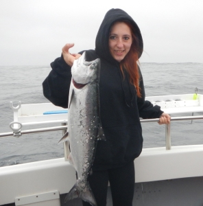 Asheena Santos of Garberville landed this nice Chinook salmon during the opening weekend of salmon season out of Eureka. Santos was fishing aboard the charter boat Reel Steel. Photo courtesy of Reel Steel Sport Fishing