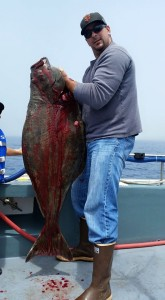 Petaluma resident Stevan Fontana landed a nice 71-pound Pacific halibut on Sunday off of Eureka while fishing with Capt. Matt Dallams of Northwind Charters. The Pacific halibut season closed on Wednesday, but is scheduled to re-open on Aug. 1. Photo courtesy of Northwind Charters