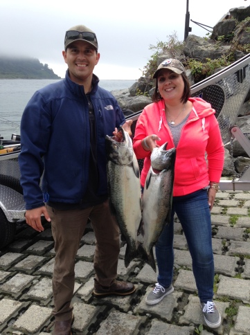 Ruben Rios and sister Deanna Rios Glaser landed a couple Klamath River kings last fall prior to the season closing on Aug. 15. CDFW predicts 59,733 fall adult Chinook will return to the Klamath basin this fall, compared to 31,838 last year. Photo courtesy of Kenny Priest/Fishing the North Coast